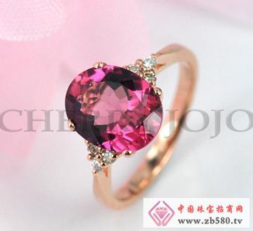 18K玫瑰金红碧玺戒指-碧玺钻石指环