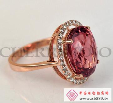 18K玫瑰金-红碧玺戒指-钻石指环