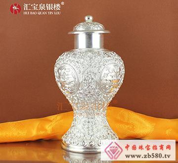 汇宝泉手工纯银摆件花瓶银制瓶子花
