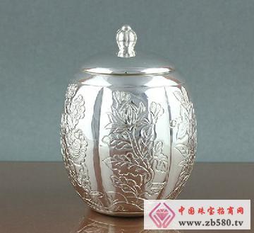 手工纯银茶具茶叶桶
