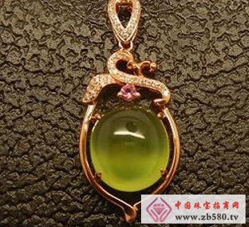 启泰珠宝--18K玫瑰金葡萄石吊坠