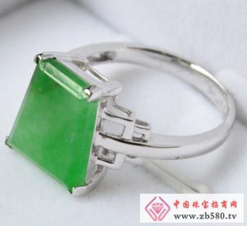 满绿梯形翡翠戒指-A货翡翠戒指