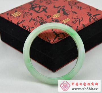缅甸A货正品翡翠手镯-透明绿色扁条