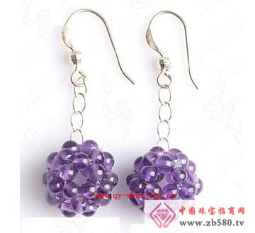 情缘水晶--紫晶耳坠耳环