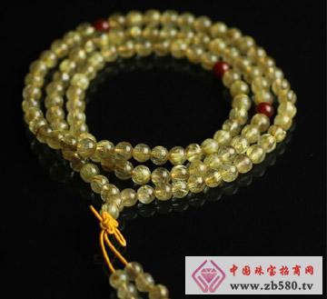 情缘水晶--金发晶佛珠手链