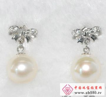 花之美蝶S925镶嵌珍珠耳坠
