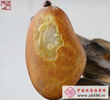 和田玉黄玉籽料-仙鹤延年