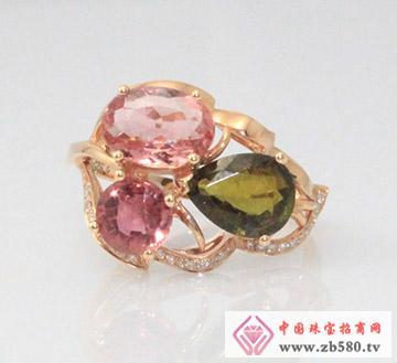 G18K玫瑰金碧玺钻石戒指