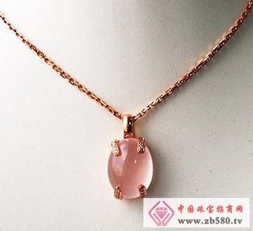 G18K玫瑰金芙蓉石钻石吊坠