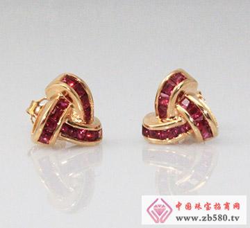 红蓝宝系列G18K玫瑰金红宝石耳钉