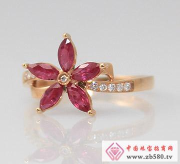 红蓝宝系列G18K玫瑰金红宝石钻石戒