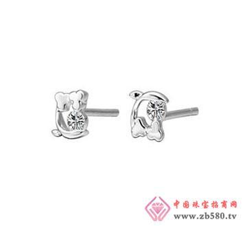 18K白金钻石耳钉—钻石耳钉