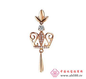 18K彩金钻石吊坠—皇冠