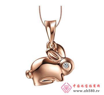 18K彩金钻石吊坠—十二生肖【兔】