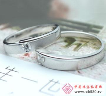 川川珠宝18k白金钻石情侣对