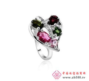 kisvi珠宝品牌叶心碧玺纯银戒指