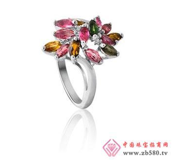 kisvi珠宝品牌掌花碧玺纯银戒指