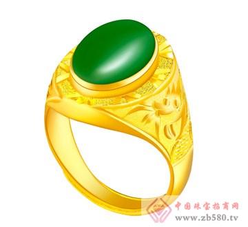 金麒隆-金镶玉戒指