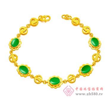 金麒隆-金镶玉手链