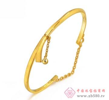 锦邦珠宝-三角柱吊金珠手链