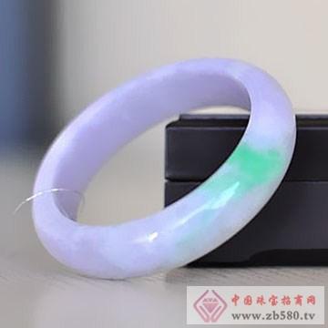 本真珠宝-翡翠冰糯种阳绿飘紫手镯