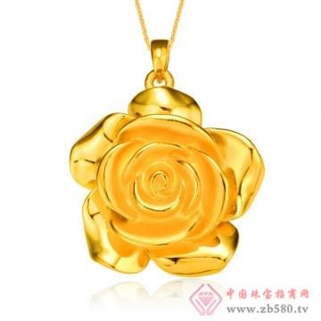 金榕珠宝-3D硬千足金花玫瑰花吊坠