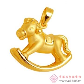 金榕珠宝-3D硬千足金黄金小木马吊