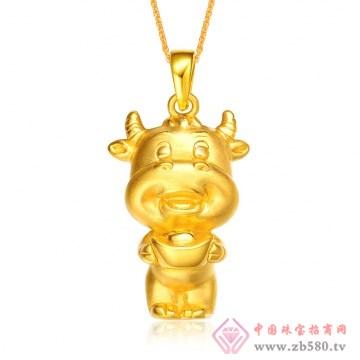 金榕珠宝-3D硬千足金生肖牛吊坠