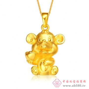 金榕珠宝-3D硬千足金生肖鼠吊坠