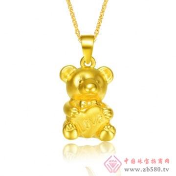金榕珠宝-3D硬千足金小熊吊坠
