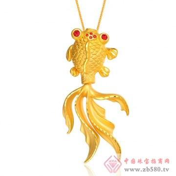 金榕珠宝-3D硬金金鱼吊坠