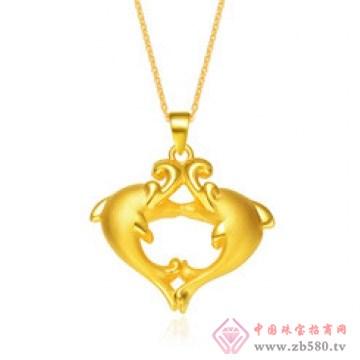 金榕珠宝-3D硬千足金海豚吊坠