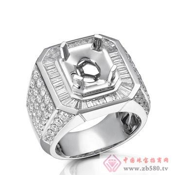 大新珠宝-18K白色黄金钻石戒托01