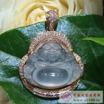 翠易珠宝-天然翡翠18K玫瑰金镶钻冰