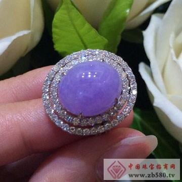 翠易珠宝-18K白镶钻天然翡翠紫罗兰