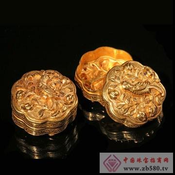 泽华文投-纯金雕花胭脂盒