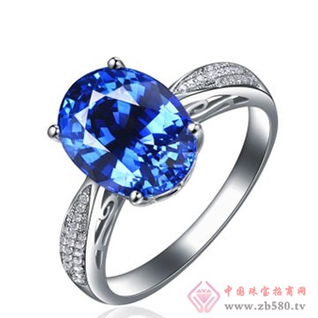 80一诺珠宝-18K白金A级坦桑石戒指