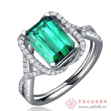 80一诺珠宝-18K白金极品绿碧玺戒指