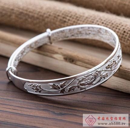 银时代祈福s999千足银牡丹花纹手镯图片(图)