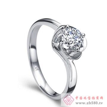 万凤珠宝-白18K金钻石女戒【爱岚