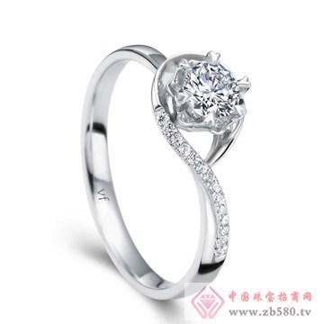 万凤珠宝-白18K金钻石女戒【水色