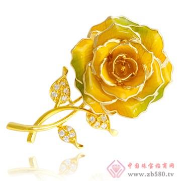 黛雅饰品-镀金玫瑰花胸针02