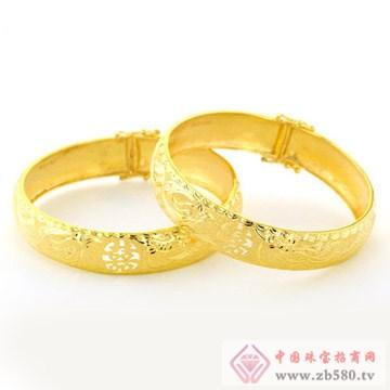 广东黄金-黄金镂空龙凤囍手镯