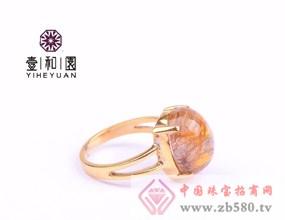 壹和園-925镀金环镶嵌天然金发晶宝