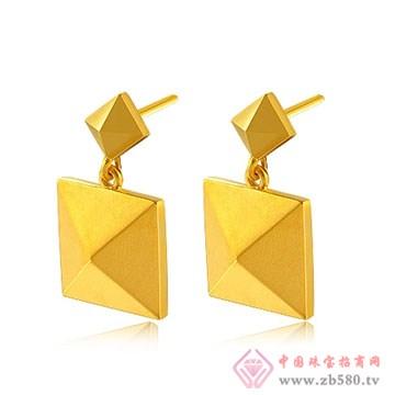 中国黄金·珍如金-3D硬金星光耳坠