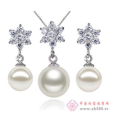 花朵镶钻925银珍珠耳环