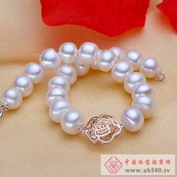 天然淡水珍珠扁圆手链