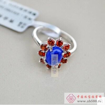天然青金石戒指指环纯银红锆石包边