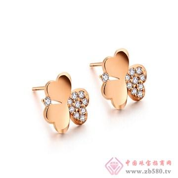 一后钻石【花的嫁纱】小清新18K耳