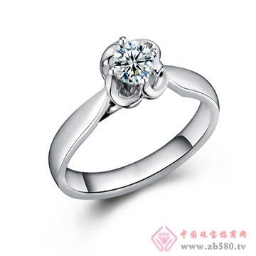 一后钻石【缘定】白18K金钻石女戒